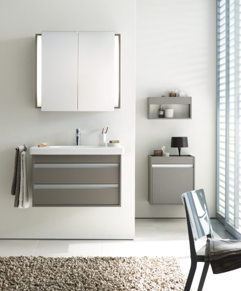 Ketho 2 Drawer Wall Mounted Vanity unit with Mirror Cabinet, Wall ...