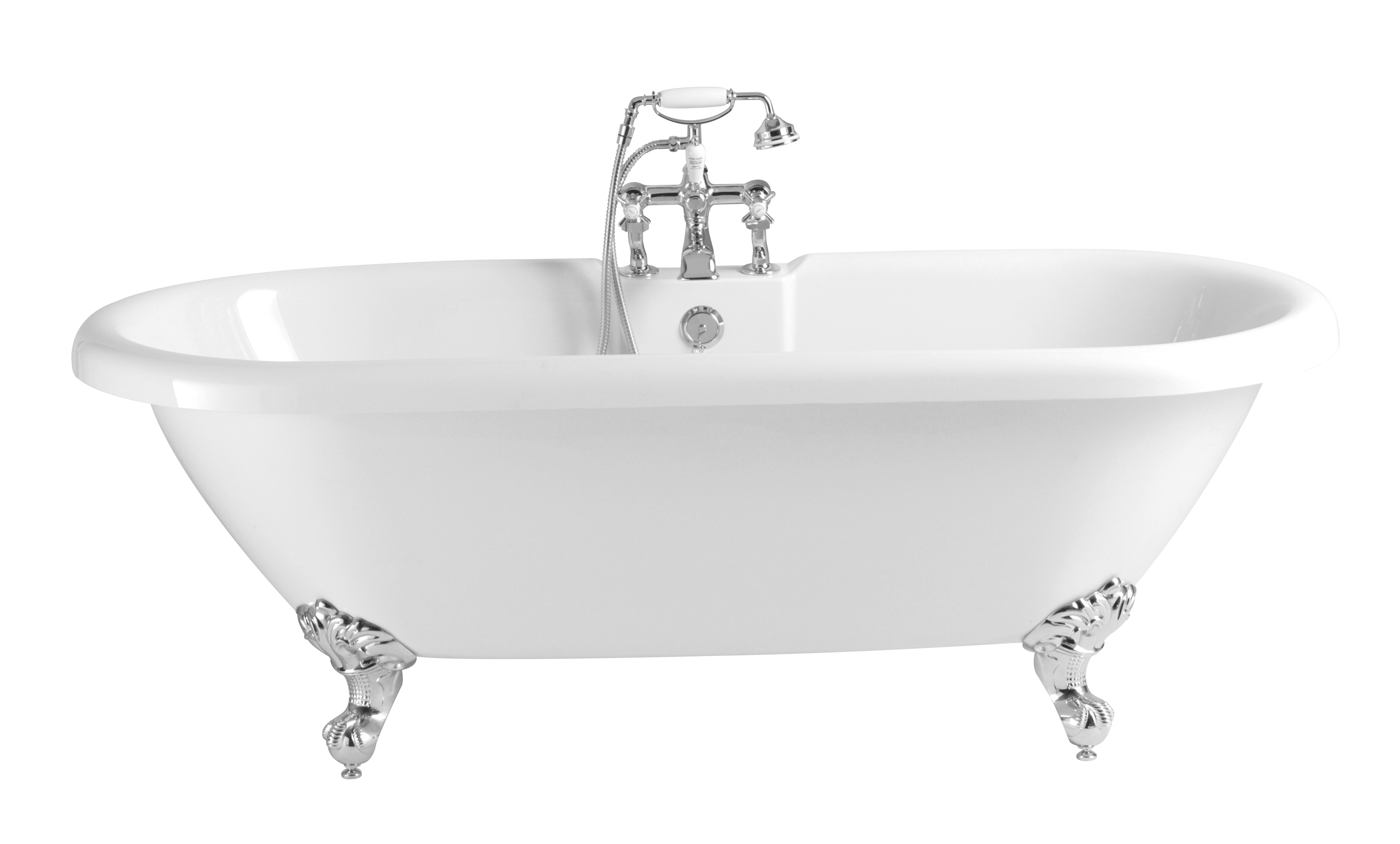 Heritage Oban Double Ended Roll Top Bath with Feet 1760mm - H&V ...