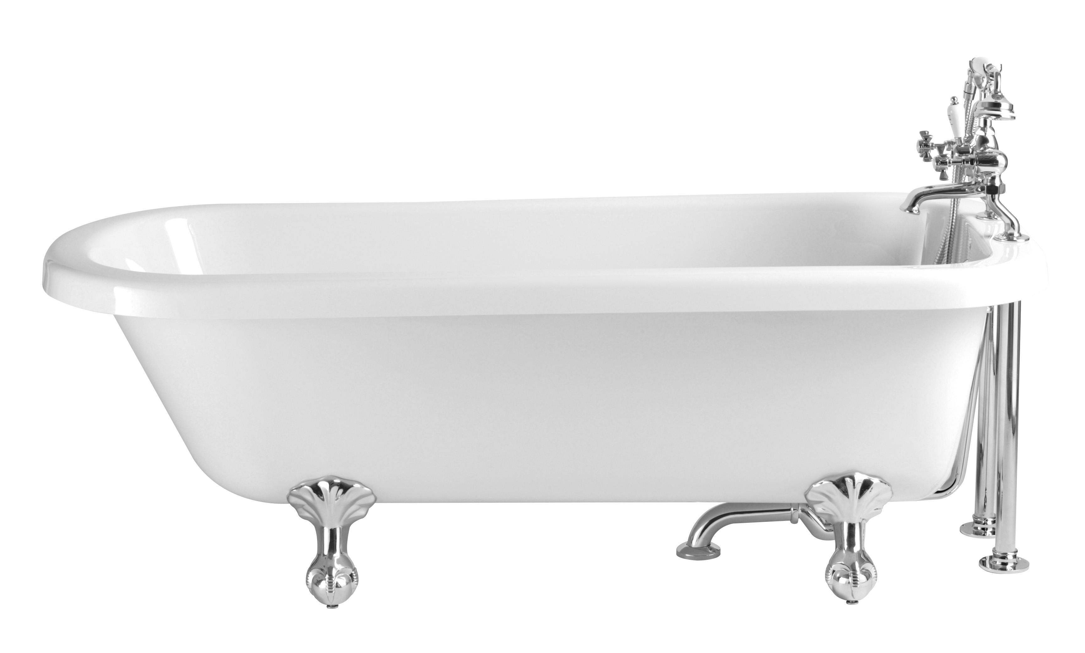 Heritage Perth Single Ended Roll Top Bath with Feet (1670x720mm ...